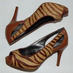 Alfani Step & Flex Calf Hair Animal Print Heels 6
